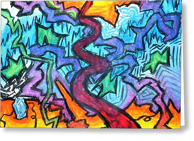 Abstract Paths Greeting Card by Jera Sky