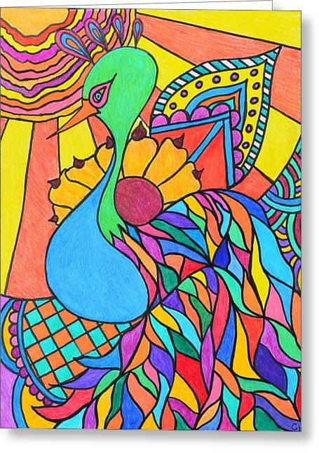 Abstract Peacock Greeting Card by Carol Hamby