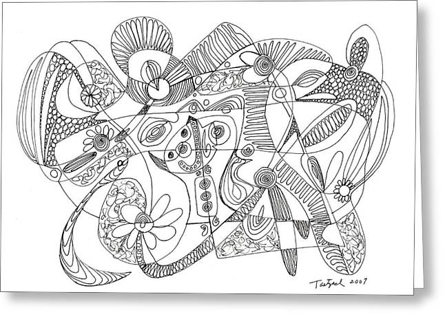 Abstract Pen Drawing Thirty-eight Greeting Card