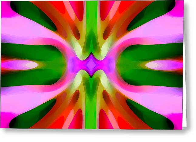 Abstract Pink Tree Symmetry Greeting Card by Amy Vangsgard