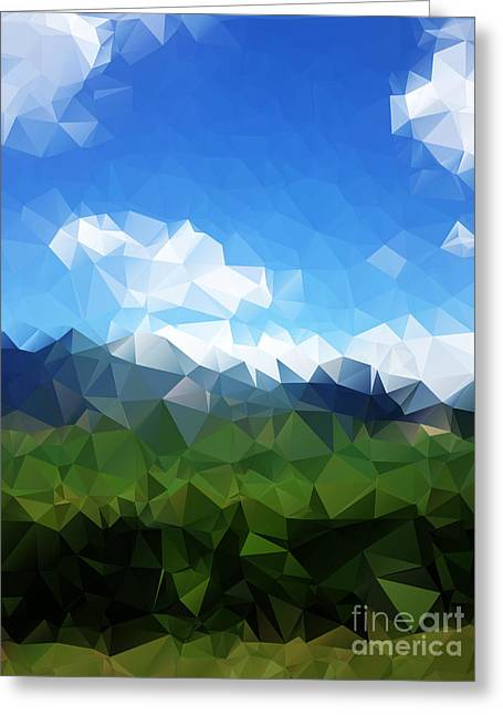 Abstract Polygonal Landscape Background Greeting Card