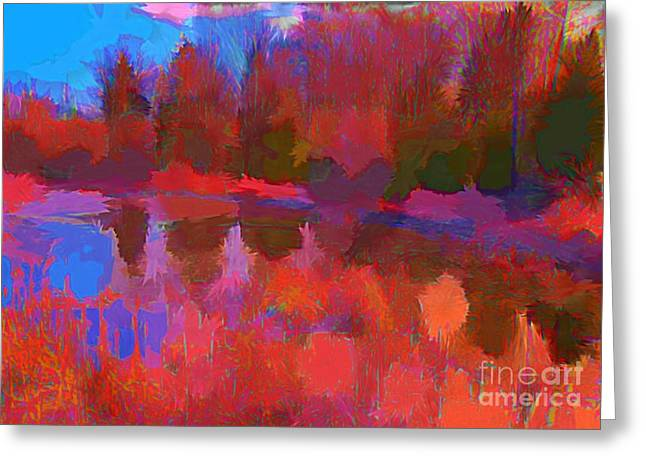 Abstract Pond Greeting Card by John Malone