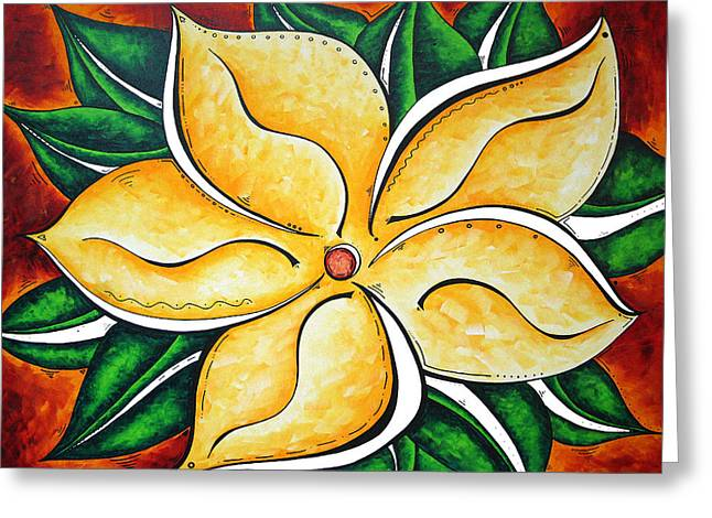 Abstract Pop Art Yellow Plumeria Flower Tropical Passion By Madart Greeting Card by Megan Duncanson