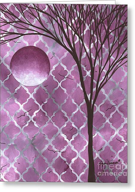 Abstract Purple Pattern Painting Original Landscape Art Moon Tree By Megan Duncanson Greeting Card by Megan Duncanson