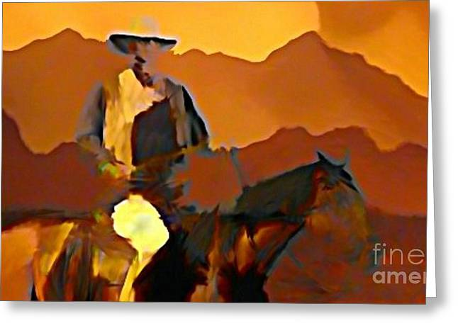 Abstract Range Riding Greeting Card by John Malone