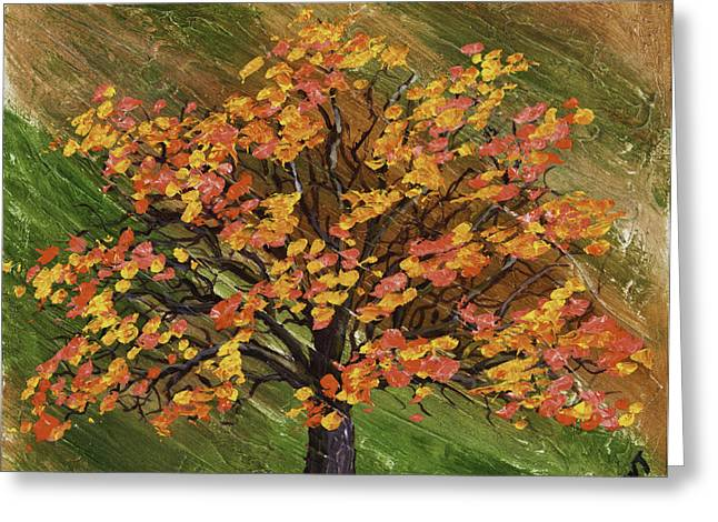 Abstract Red And Orange Tree Painting Greeting Card