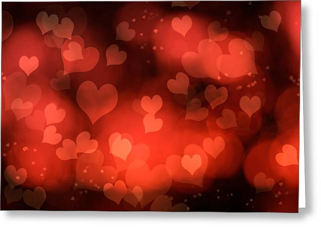 Abstract Red Hearts Greeting Card by Amanda Elwell