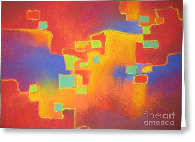 Abstract - Red Squares Greeting Card by Lorna Webber