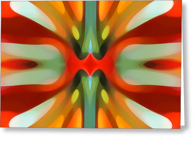 Abstract Red Tree Symmetry Greeting Card by Amy Vangsgard