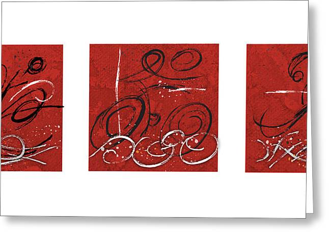 Abstract Red Triathlon Triptych Greeting Card