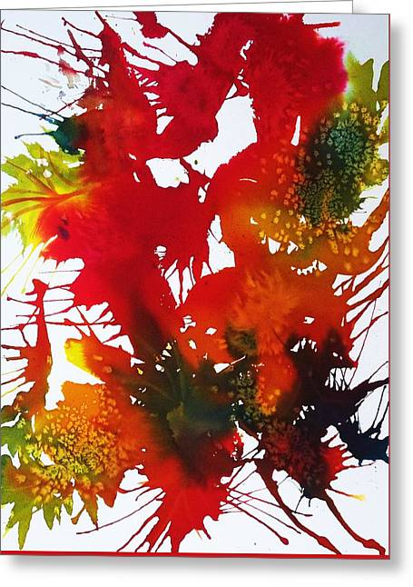 Abstract - Riot Of Fall Color II - Autumn Greeting Card by Ellen Levinson