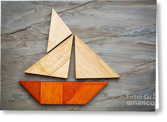 Abstract Sailboat From Tangram Puzzle Greeting Card