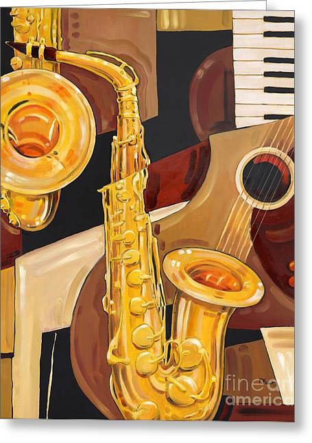 Abstract Saxophone Greeting Card by Paul Brent