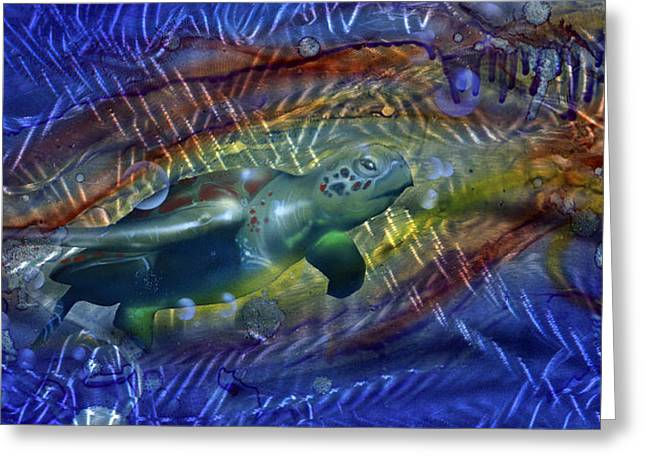 Abstract Sea Turtle 1 Greeting Card by Luis  Navarro