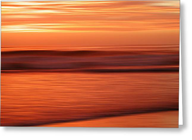 Abstract Seascape At Sunset Greeting Card