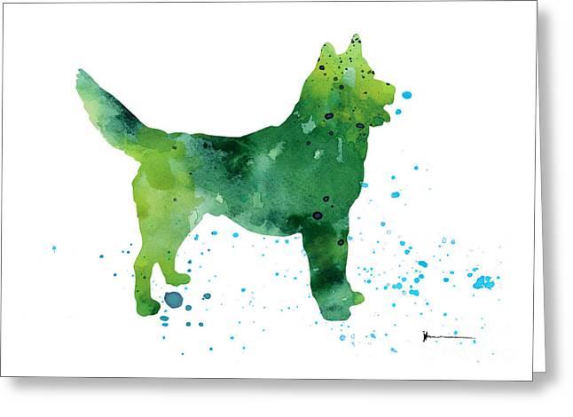 Abstract Siberian Husky Watercolor Art Print Painting Greeting Card by Joanna Szmerdt