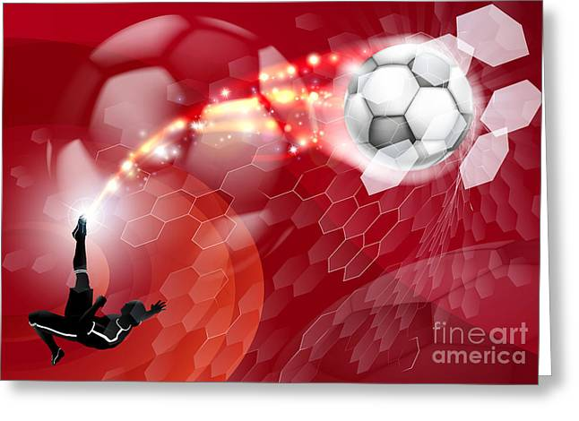 Abstract Soccer Sport Background Greeting Card by Christos Georghiou