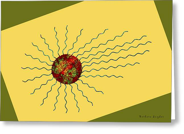Abstract Sunburst Skewed Greeting Card by Barbara Snyder