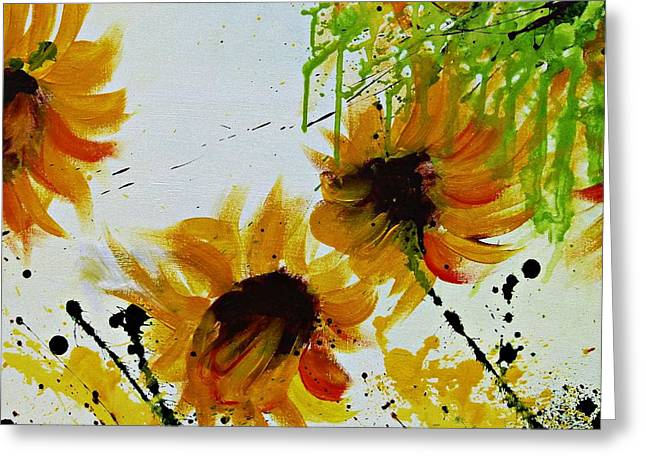 Abstract Sunflowers Greeting Card by Ismeta Gruenwald
