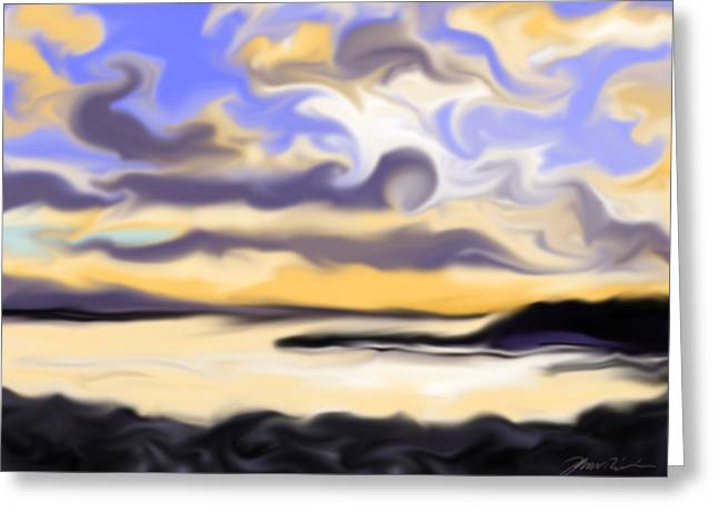 Abstract Sunset Black Point Maine Greeting Card by Jean Pacheco Ravinski