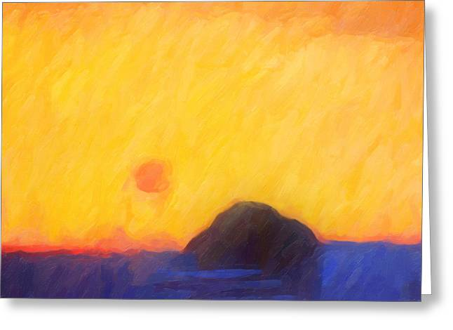 Abstract Sunset Greeting Card by Lutz Baar