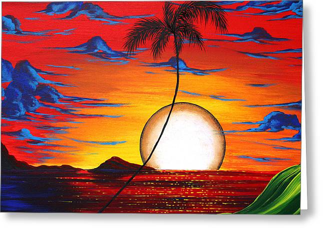 Abstract Surreal Tropical Coastal Art Original Painting Tropical Resonance By Madart Greeting Card by Megan Duncanson
