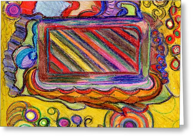 Greeting Card featuring the drawing Abstract Television And Shapes by Lenora  De Lude
