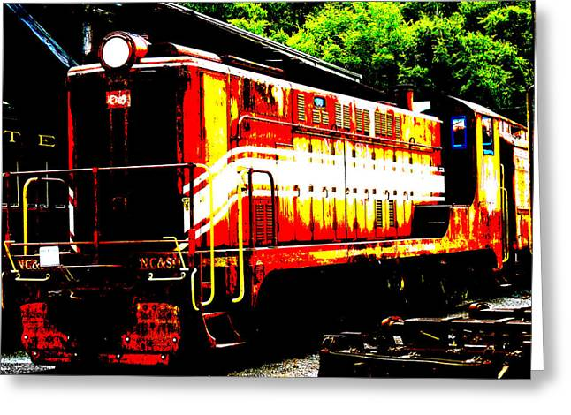 Abstract Train Engine  Greeting Card by Mark Moore