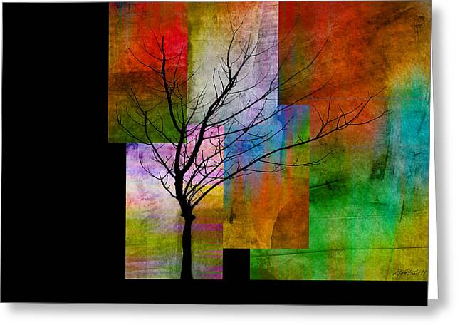 abstract- trees - Color Blocks with Tree Greeting Card by Ann Powell