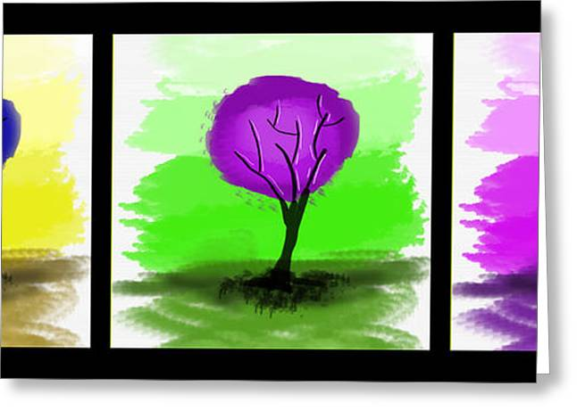 Abstract Trees Tryptich Greeting Card by Art Photography