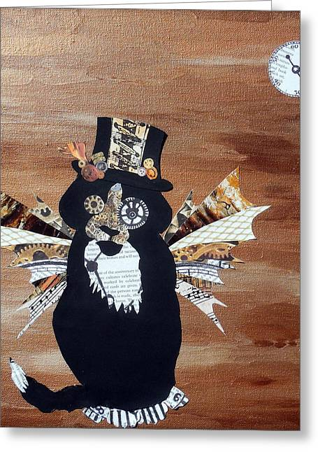 Steampunk Style Cat Art Tuxedo Cat Abstract Cat Painting Greeting Card