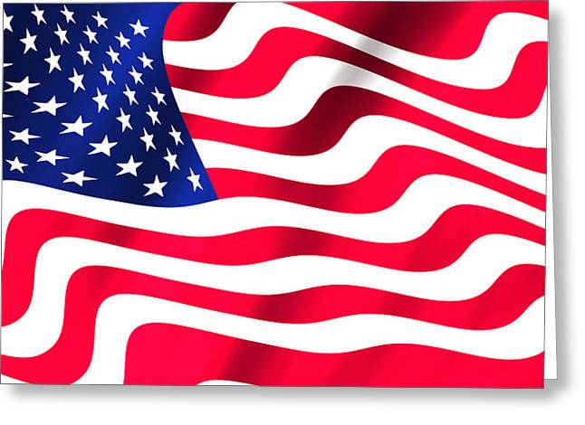 Abstract U S Flag Greeting Card by Daniel Hagerman