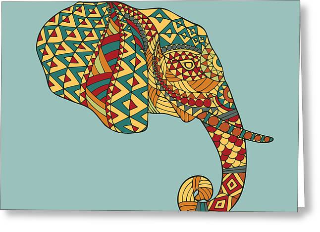 Abstract Vector Image Of An Elephants Greeting Card