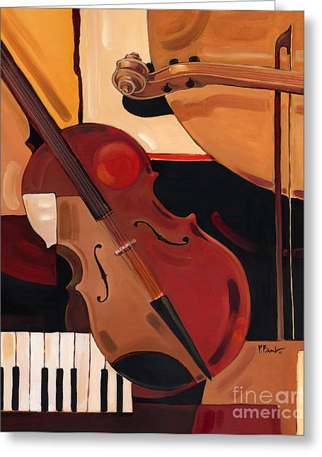 Abstract Violin  Greeting Card by Paul Brent