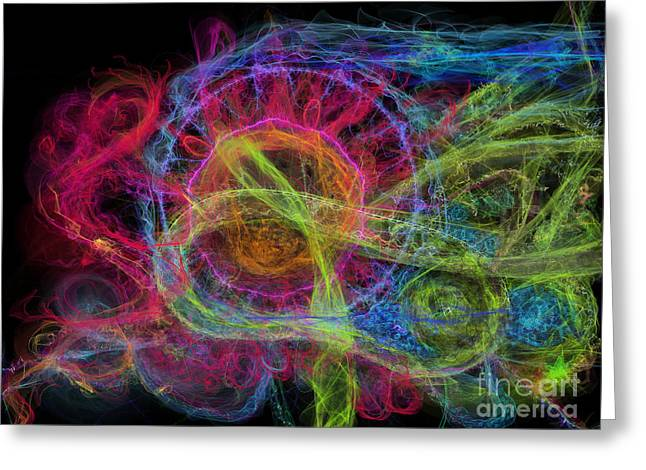 Greeting Card featuring the digital art Abstract Virus Budding Painterly 1 by Russell Kightley