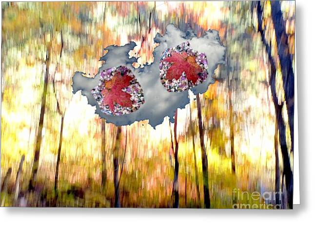 Abstract West Fork Autumn Bell Rock Heart Cloud Greeting Card by Marlene Rose Besso