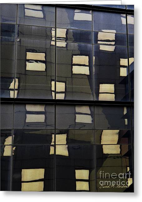 Abstract Window Reflections - Nyc Greeting Card by David Gordon