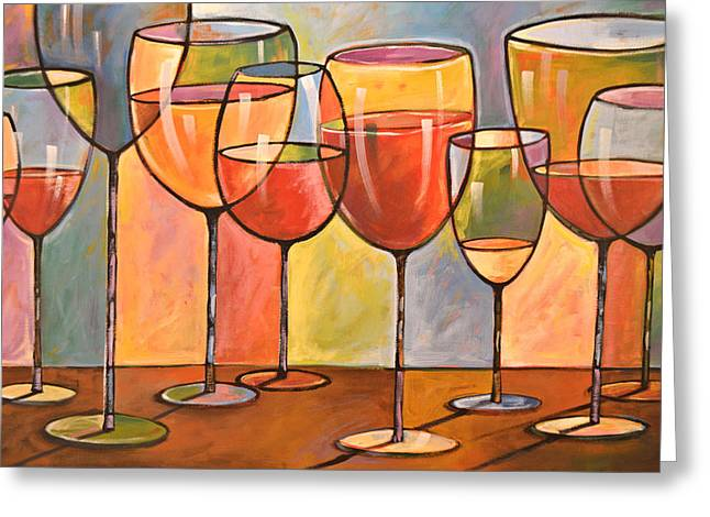 Abstract Wine Art ... Whites And Reds Greeting Card by Amy Giacomelli