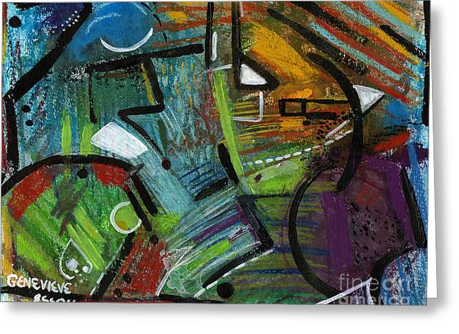 Abstract With Black Lines Greeting Card