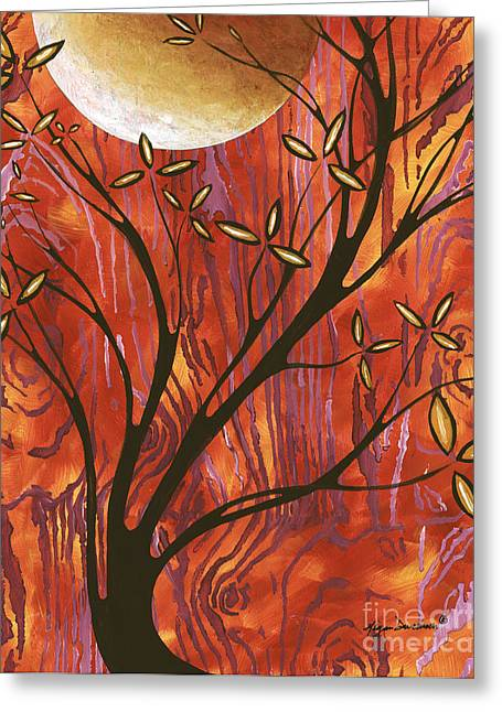 Abstract Wood Pattern Painting Original Landscape Art Moon Tree By Megan Duncanson Greeting Card