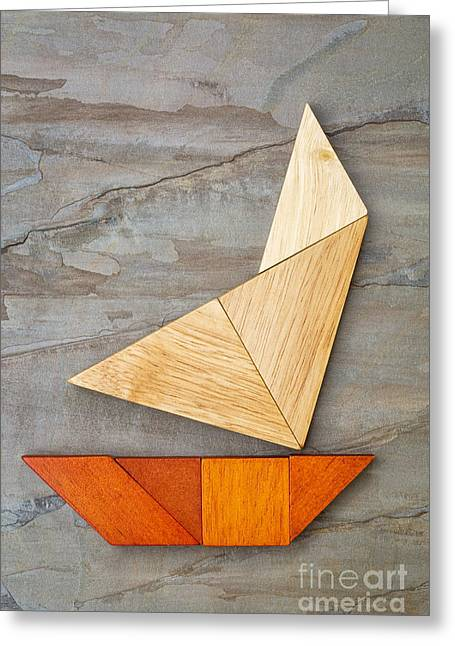 Abstract Yacht From Tangram Puzzle Greeting Card