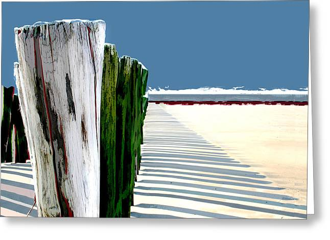 Abstracted Beach Dune Fence Greeting Card by Elaine Plesser