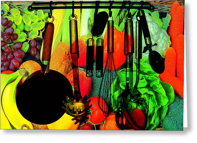 Abstracted Kitchen Scene Greeting Card by Elaine Plesser