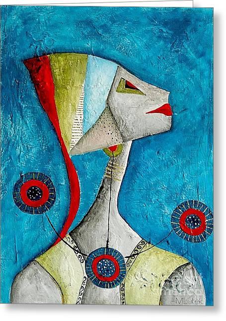 Abstraction 698 -marucii Greeting Card by Marek Lutek