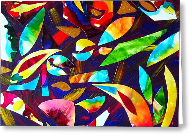 Abstraction And Colorful Thoughts Greeting Card by Roberto Gagliardi