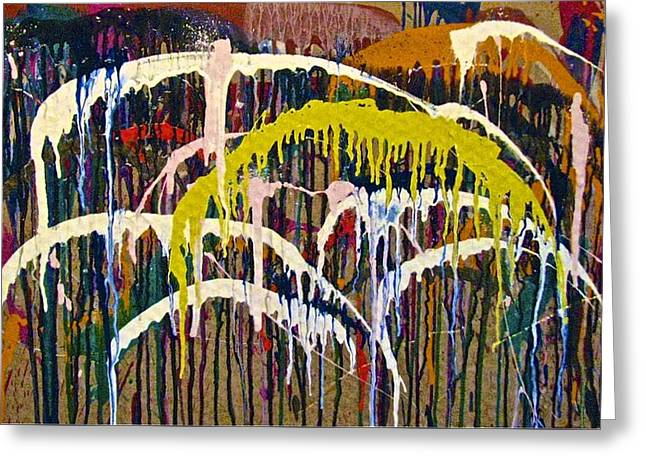 Abstracts 14 - Downtown With Umbrellas Greeting Card