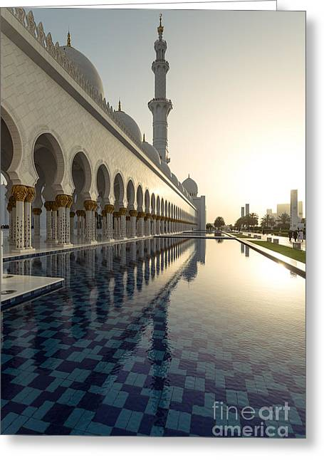 Abu Dhabi Grand Mosque At Sunset Greeting Card by Matteo Colombo