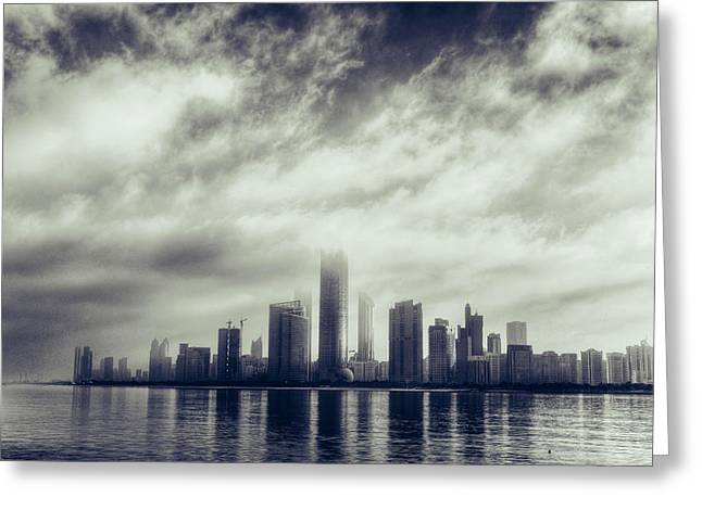 Abu Dhabi Skyline Greeting Card by Mohamed Kazzaz