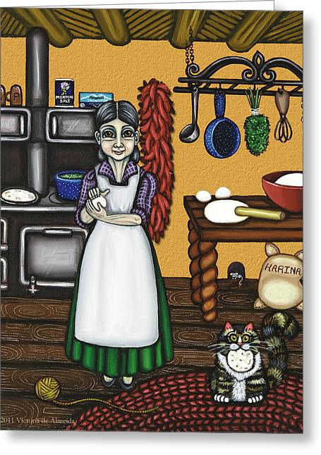 Abuelita Or Grandma Greeting Card by Victoria De Almeida
