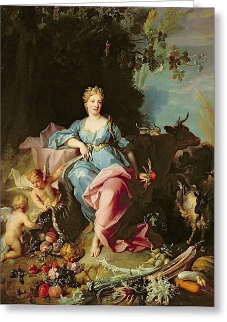 Abundance, 1719 Oil On Canvas Greeting Card by Jean-Baptiste Oudry
